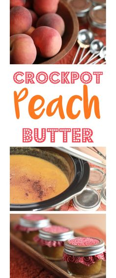 Crock Pot Peach Butter Recipe! Yummy Peaches + your Slow Cooker, and you've got the most delicious homemade Crockpot Peach Butter! EASY to make, and makes great gifts in a jar, too! | TheFrugalGirls.com
