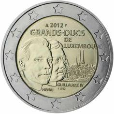 2 euro commémorative 2012 Luxembourg - Commémoration du Grand-Duc Henri et le Grand-Duc Guillaume IV : tirage 1 400 000 ex