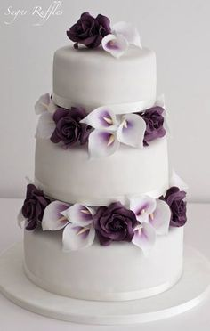 Idea: use as basic idea. use deep purpe + silver. pick flowers according to those for wedding. add more details to the tiers.  Wedding cake idea; Featured Cake: Sugar Ruffles