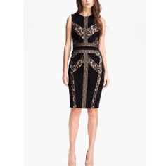 ✨Host Pick ✨ BCBG Raina Blocked Lace Sheath Dress BCBG MAXAZRIA Black Nude Raina Blocked Lace Sheath Dress with Stretch for a Comfortable Fit. Retail price $268 ✨ Sold Out✨ Light Wear in Fabulous Condition ✨ BCBGMaxAzria Dresses