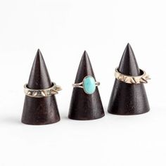Black wooden ring displays that are a cone shape. Attention grabbing and perfect for displaying different sizes of rings. Ring Displays, Jewellery Displays, Wooden Rings, Engagement Rings, Centre, Black, Jewelry, Ideas, Enagement Rings