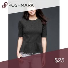 GAP peplum top Super soft heather gray peplum top by GAP. In perfect condition. Zips up the back. 100% cotton Gap Tops Tees - Short Sleeve