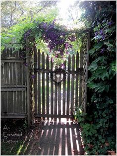 """Clematis covering the arbor over a old garden gate. Makes me think of the """"Secret Garden""""."""