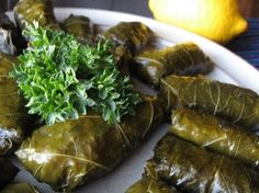 Dolmas made from fig leaves instead of grape leaves.