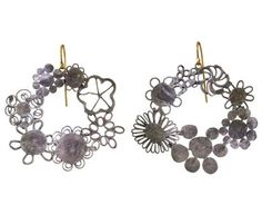 Judy Geib | Silver Flower Hoop Earrings in Designers Judy Geib Earrings at TWISTonline