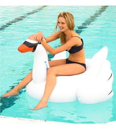 SunnyLife Inflatable Swan Pool Float at SwimOutlet.com - Free Shipping