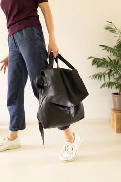 be8a0b7717a2 FOKS FORM Bi Bag 01 Minimal leather handbag backpack by FoksForm Thick  Leather
