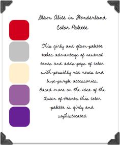 Glam Queen of Hearts Alice in Wonderland Colour Palette