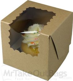 """Share MrTakeOutBags.com with your friends and get a $5.00 off your order! 4 x 4 x 4"""" Recyclable Brown Kraft Individual Cupcake Boxes with Window 