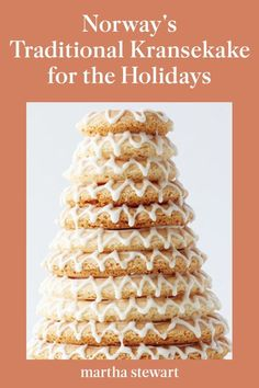 "The kransekake, which translates to ""wreath cake"", is the signature cake of Norway and a showstopping confection that is made for special occasions. Learn how to make this traditional Norwegian cake for your holiday party with our step-by-step recipe and baking tips. #marthastewartliving #holidaydessert #easydessertrecipe #easyrecipes Holiday Desserts, Christmas Recipes, Holiday Recipes, A Food, Food And Drink, Almond Cookies, Sweet Ideas, Themed Parties, No Bake Cookies"