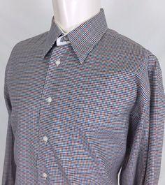 483313cf023cdb Paul Fredrick Multi-Color Houndstooth Check L S Dress Shirt Men s 16.5-35