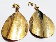 4 Gold Plated Spinner Dangle Clipon Handcrafted Earrings by ADKOR, $8.75