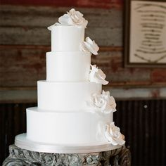 All White Wedding Cake but added bling on edges