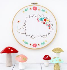 Harriet the Floral Hedgie Embroidery Pattern in a hoop