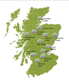 Locations of some of Scotlands' castles