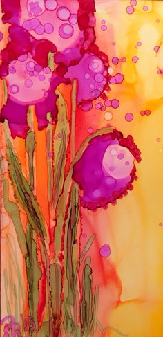 Whimsical Posies- alcohol ink on Yupo paper by Artist Pamella Radwan