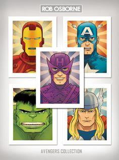 AVENGERS SUPER COLLECTION Comic Book Superhero Pop Art Prints 11x14 by Rob Osborne. $62.00, via Etsy.