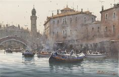 """Delivery Time"", Venice watercolour // Josef Zbukvic"