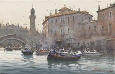 """Delivery Time"", Venice watercolour // Josef Zbukvic"