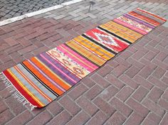 50 years old, vintage kilim rug was made in western Turkey. Hallway runner in great vintage condition. Sizes are 100 x 23 inches or 254 cm x 58 cm