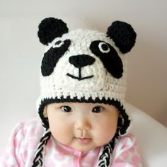 Panda Hat, Panda Bear, Crochet Baby Hat, Baby Hat, Animal Hat, Black, White, photo prop. $19.99, via Etsy.