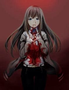 anime anime girl blood bloody creepy gore horror scary