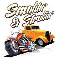 Smokin and Strokin Rust Bucket Auto Group Rat Rod Car Mens T Shirt 17074