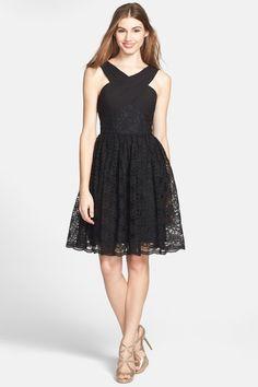 ML Monique Lhuillier Bridesmaids   Cross Neck Lace Fit & Flare Dress (Nordstrom Exclusive)   Nordstrom Rack