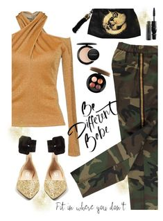 """Fancy Flats"" by juliehooper ❤ liked on Polyvore featuring Blugirl, Attico, MAC Cosmetics, gold, camo, polyvoreeditorial and chicflats"