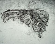 engravings Lanfranco Quadrio, Ala con Segno, 2004, engraving,  mm 320 x 405 (copperplate), mm 500 x 700 (paper). Edition: 30