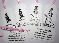 6 Pride and Prejudice, Mr Darcys &  Lizzie Gift Tags, Darcys Proposal, Jane Austen