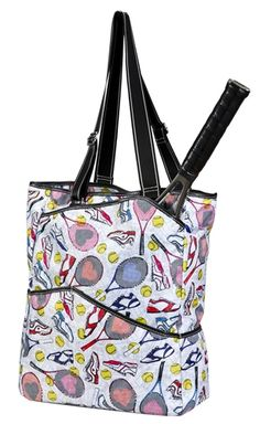 SlamGlam - Sydney Love Tennis Everyone Large Tennis Tote Bag.  Sydney Love tennis bags provide the active woman on the court  a colorful, lightweight, yet stylishly durable fabric.