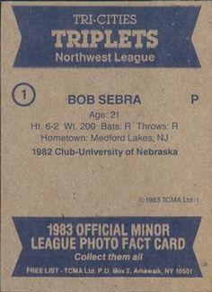 1983 TCMA Tri-Cities Triplets #1 Bob Sebra Back