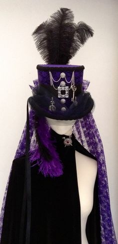 Steampunk purple mad hatter top hat by Blackpin on Etsy