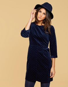 Cordelia French Navy Woodchip Spot Pincord Dress  | Joules US