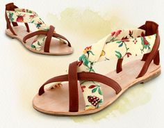 """""""Brigitte"""" Handmade sandals style Made in the UK (in this case with French fabric). Cute Sandals, Cute Shoes, On Shoes, Barbie, French Fabric, Baby Socks, Shoe Art, Ethical Fashion, Shoes Online"""