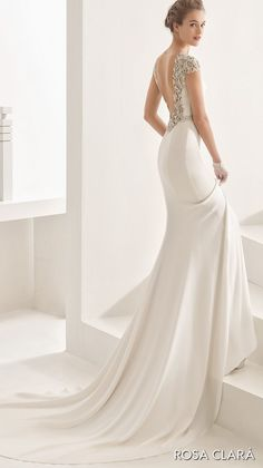 Rosa Clará 2017 Bridal Collection embellished cap sleeves bateau neck simple clean elegant sheath wedding dress open low back chapel train (naira)  bv --  #wedding #bridal #weddingdress