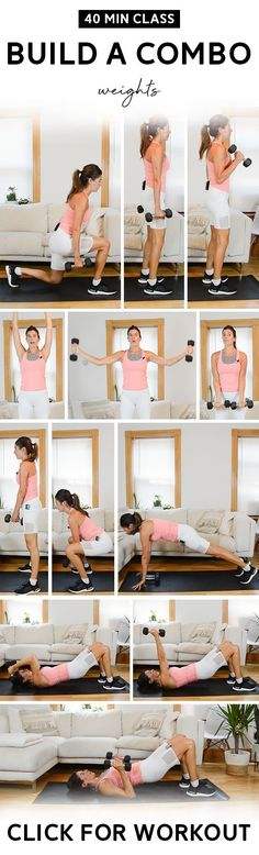 Grab a set of medium weights for this low-impact, total body workout. 40-minute Build a Combo class with guided warm up and cool down. #workoutvideo #strengthtraining #fitness Hiit Workout Videos, Fun Workouts, Workout Classes, Circuit Workouts, At Home Workout Plan, Belly Fat Workout, Total Body, Workout Fitness, Fitness Tips
