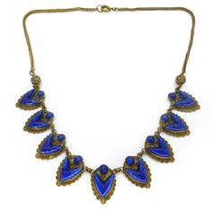 Vintage Art Deco Czech Blue Lapis Glass Pointed Panel Chain Necklace | Clarice Jewellery | Vintage Costume Jewellery