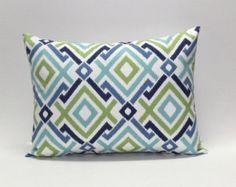 Blue. Aqua. Green. Lumbar pillow cover.  Modern diamond geometric design in blues and greens, designer pillows, sofa throw pillows