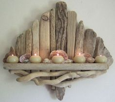 Nature Crafts Walking along the seashore, you will possibly not possibly notice the pieces of driftwood that turn up around you. Even so, these inconspicuous gifts from mother nature Driftwood Shelf, Driftwood Beach, Driftwood Projects, Driftwood Ideas, Painted Driftwood, Beach Wood, Wooden Projects, Beach Crafts, Diy And Crafts