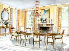 The glimmering warmth of Todd Klein's dining room creates a mood for lingering…