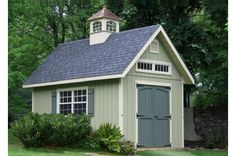 A 20x20 A-frame featuring vinyl siding & insulated house windows with transom glass. The width of the building combined with the steep pitch of the roof allows plenty of room for a second floor accessible by an L-shaped staircase. The cupola is optional.