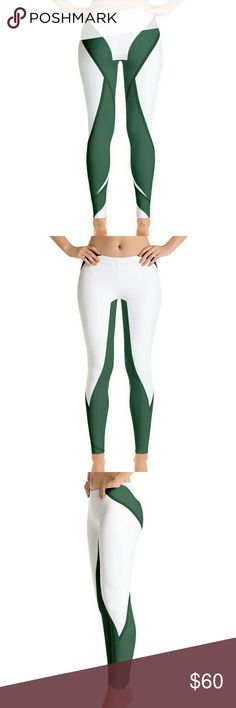 Green & White Leggings Match this with e perfect runners. Green and White HWA Leggings.  Stylish, durable, and a hot fashion staple. These polyester/spandex leggings are made of a comfortable microfiber yarn, and they'll never lose their stretch.  • Fabric is 82% polyester, 18% spandex • Four-way stretch • Elastic waistband • Precision-cut and hand-sewn HWA Pants Leggings