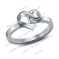 Women Luxury Lovely 925 Silver Finger Band Crystal Heart Shape Love Women's Ring #Unknown #WomensHeartShapedRing