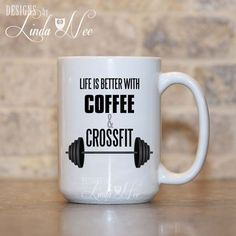Coffee and Crossfit Mug, Weightlifting Mug, Weightlifting Gift, Crossfit Gift, Workout Coffee Mug, Bodybuilding Gift, Fitness Mug MSA187  ♥ AVAILABLE SIZES 15 oz 11 oz   ♥ ABOUT OUR MUGS ♥ All designs are personally created by me and exclusive to DesignsbyLindaNee ♥♥♥♥♥ http://etsy.me/1O2ftEU ♥♥♥♥♥ and DesignsbyLindaNeeToo ♥ Each mug is custom imprinted in our studio in Henniker, New Hampshire, using professional materials and processes ♥ Only top quality mugs and sublimation i...