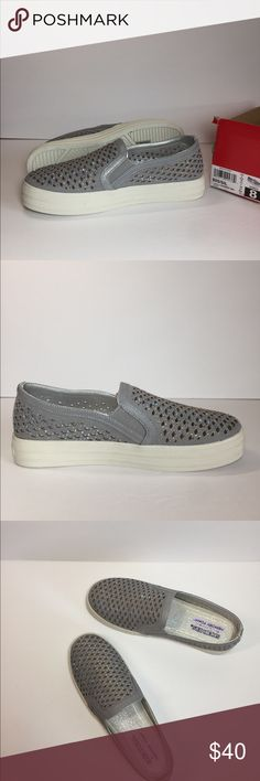 Skechers Diamond Girl Slip On Sneaker Diamonds really are a girl's best friend with the Diamond Girl Slip On Sneaker from Skechers. Soft microfiber upper in a slip on sneaker style with a round toe Easy slip on entry with dual side elastic goring for a flexible fit Laser cut-outs and sparkling rhinestone details make this a must for a glam look Air Cooled Memory Foam cushioned footbed 1.5  inch platform. Brand New with box but box has no lid  Posh Ambassador  Top Rated seller⚡️Fast…