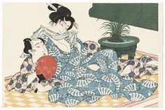Pillow Print by Eisen (1790 - 1848). Japanese woodblock print. ukiyoe japan decoration antique fineart home decor collectible japanese woodblock print handmade home art beautiful decorative etching illustration traditional woodcut