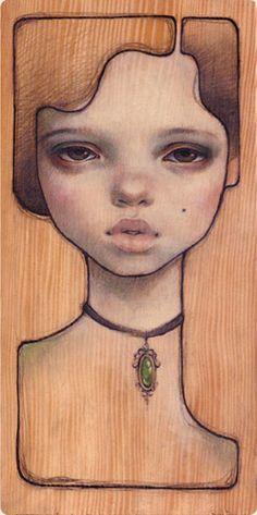 Necklace Oil on wood 5.5x10.5 Not So Soft - Black Market LA 2005 (jg) © Audrey Kawasaki 2004 - 2013