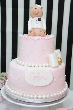 Combined Baby Shower Table: Chanel for girl & Ferrari for boy: The Cake